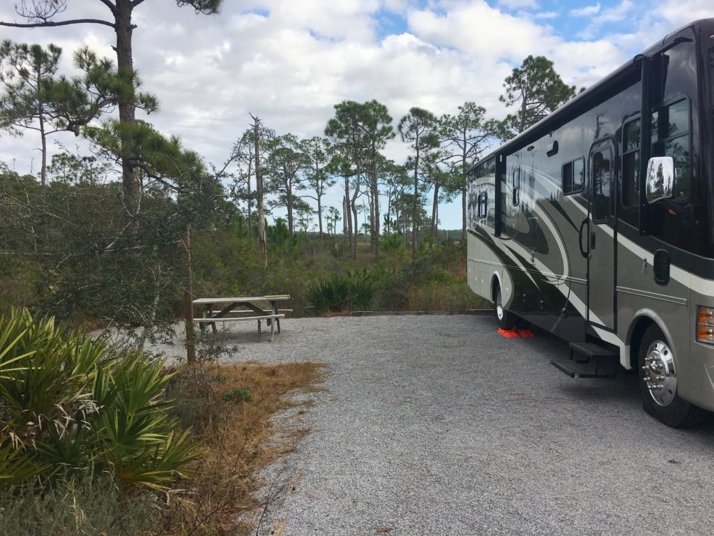 Large private campsite at Grayton Beach State Park.