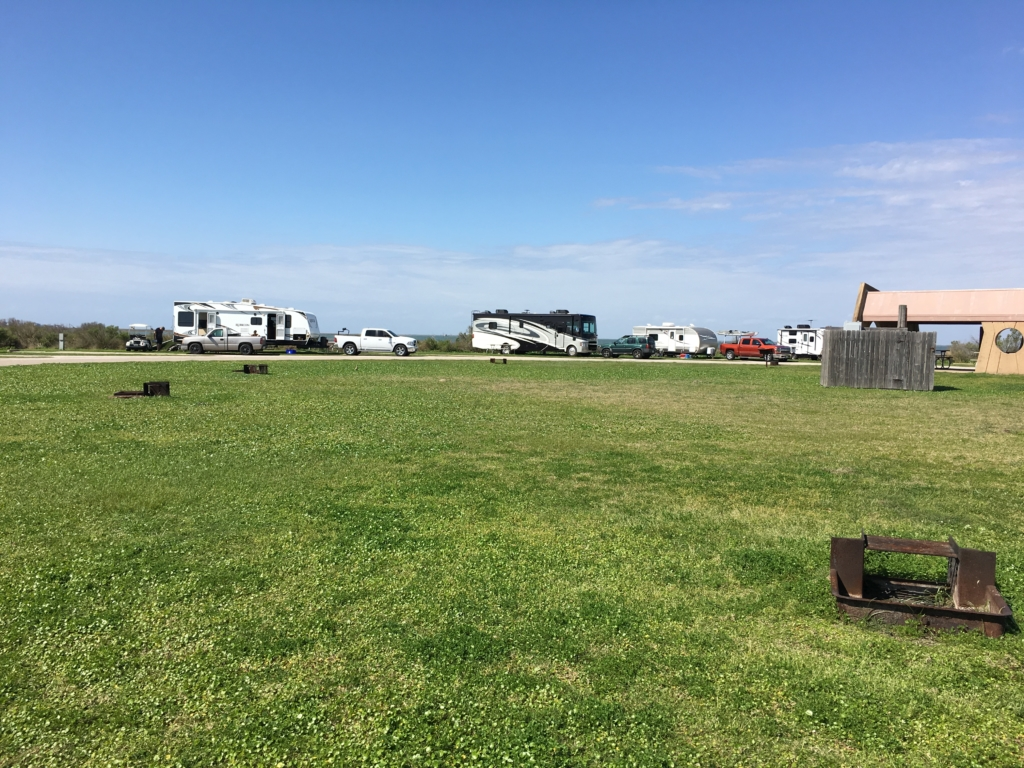 Bay side camp sites at Galveston Island State Park