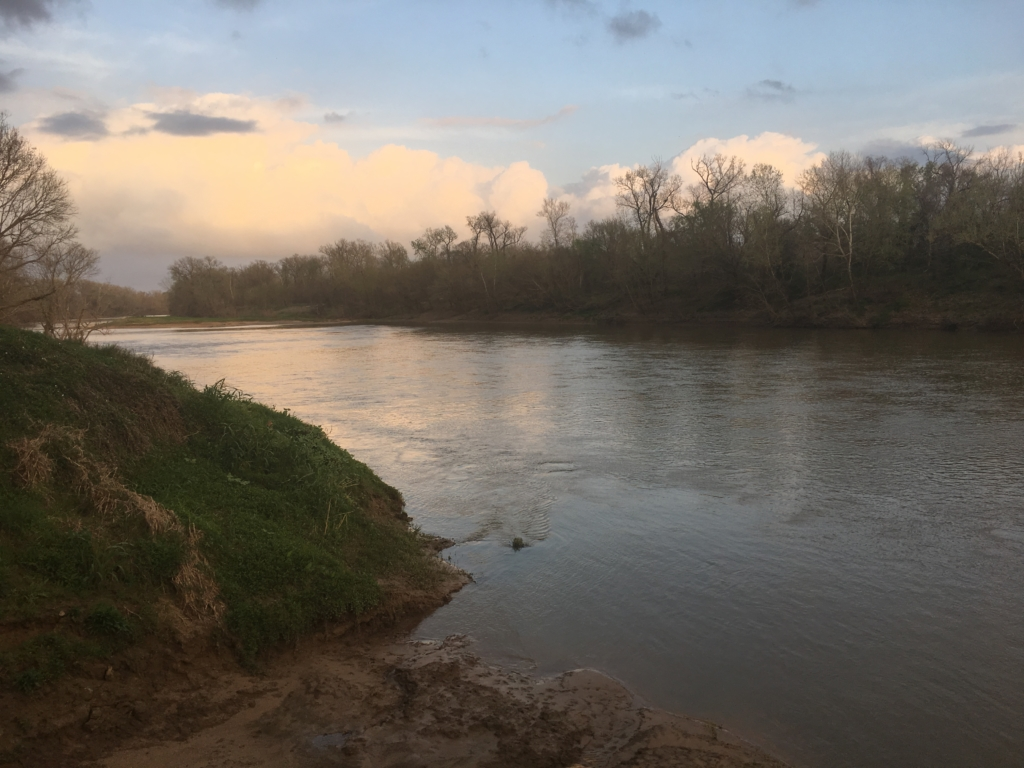 The Colorado River running through Thousand Trails Campground in Columbus, Texas