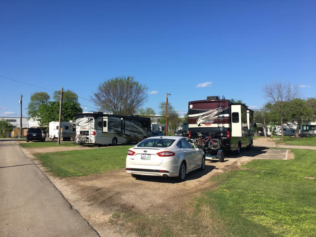 RVs parked at Riverwalk RV Park in San Antonio, Texas