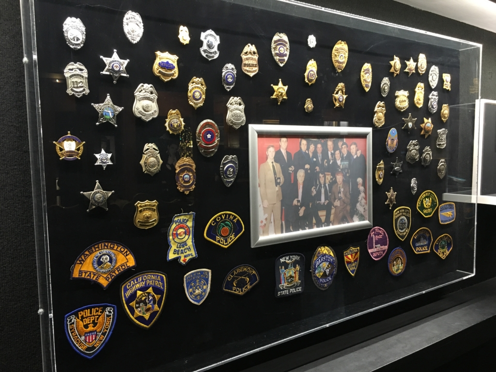 Elvis's collection of law enforcement badges and patches