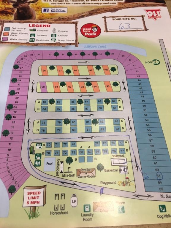 Campground map for Elkhorn Campground, Lexington, Kentucky