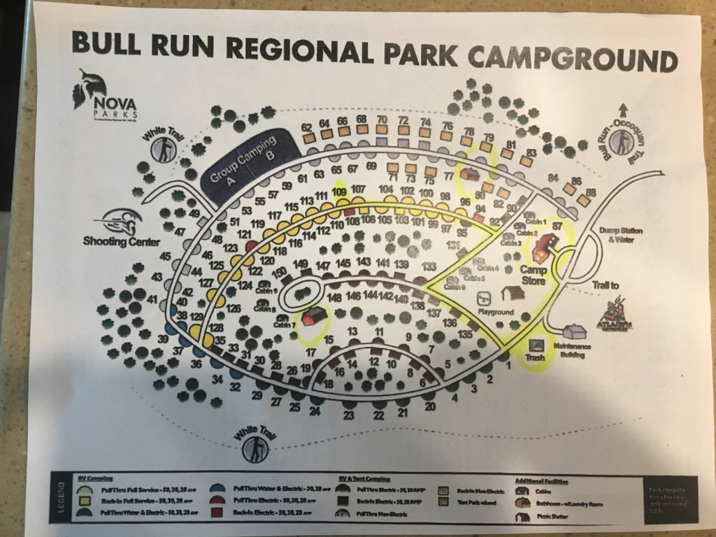 Campground map for Bull Run Regional Park