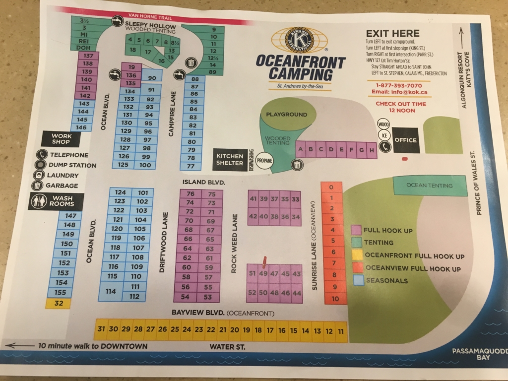 Kiwanis Oceanfront Camping campground map