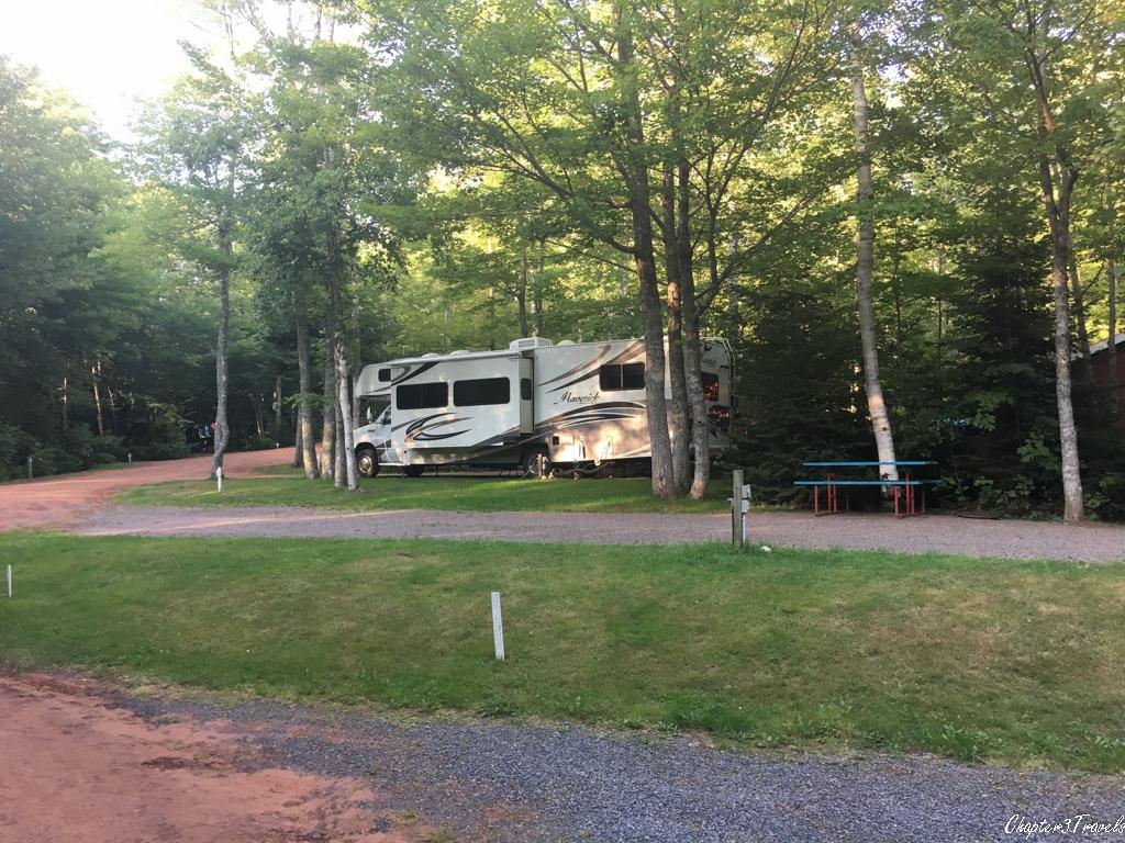 RV sites at Interior New Glasgow Highlands Campground in Prince Edward Island