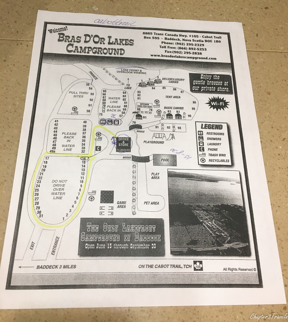 "Campground map for Campsites at Bras d""Or Lake Campground"