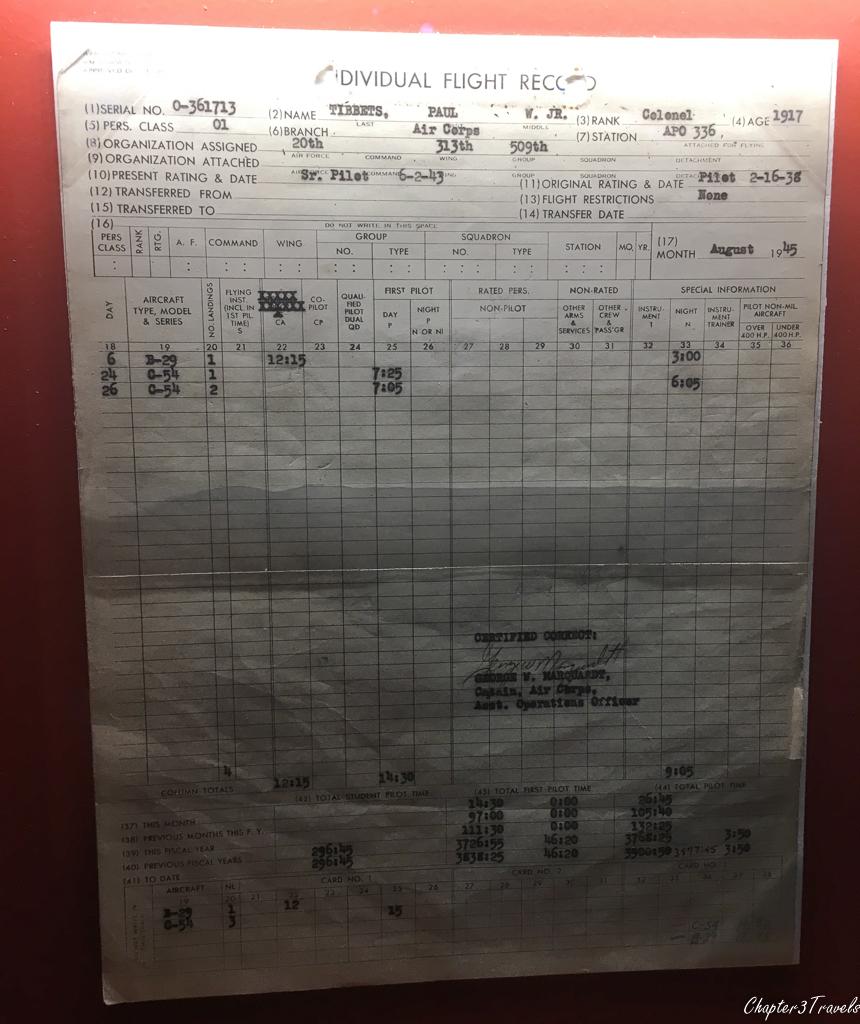 Paul Tibbets' flight plan for August 6, 1945