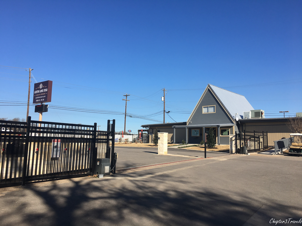 Front office and gate at Austin Lone Star RV Park