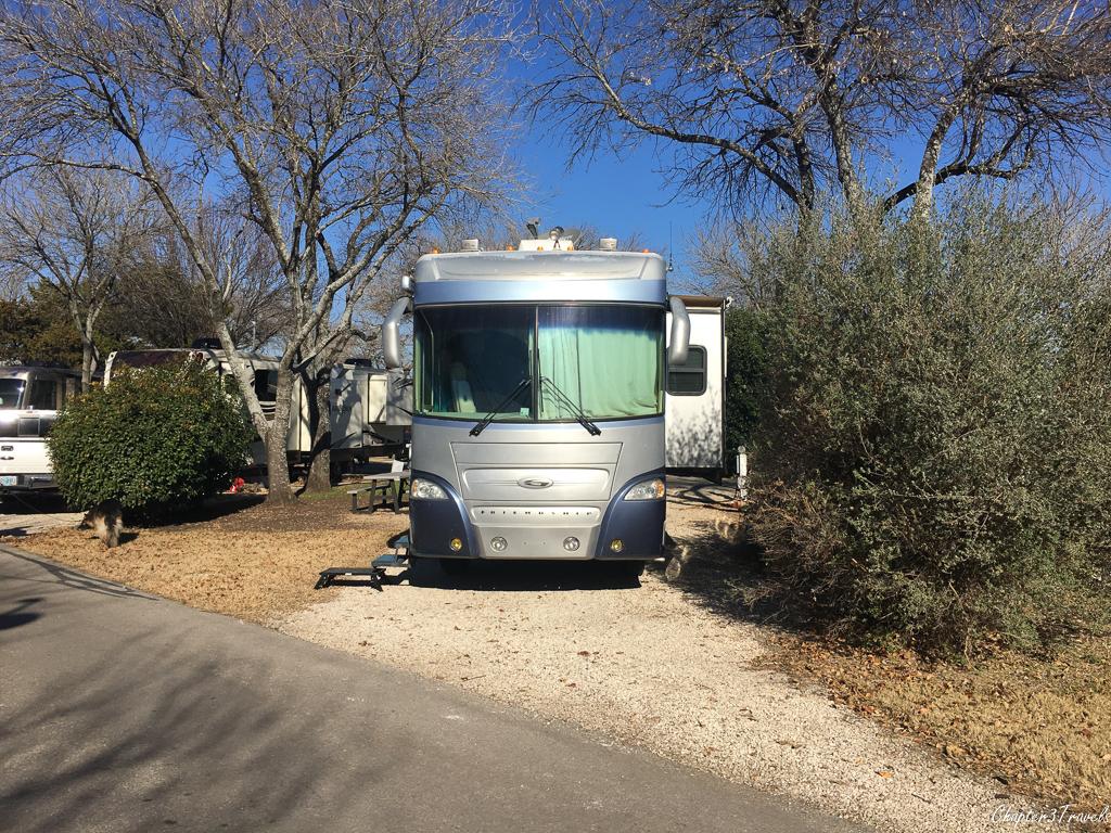 Campsite at Austin Lone Star RV Park in Austin, Texas