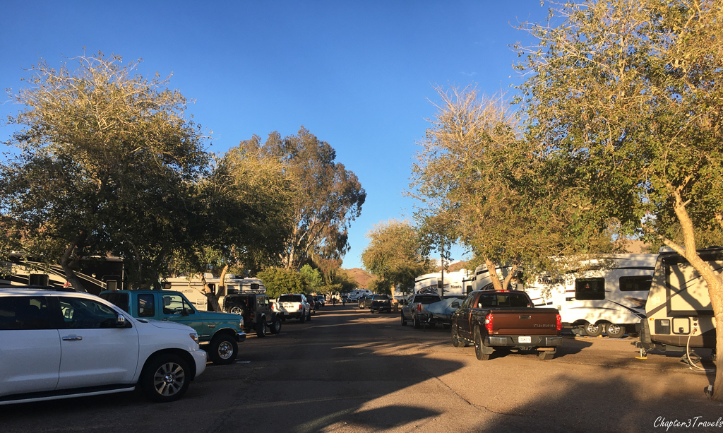 The campground at Cattail Cove State Park