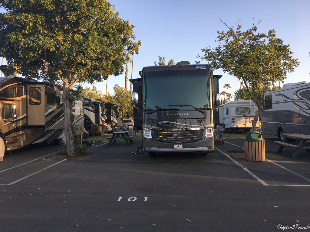 Campsites at Mission Bay RV Park in San Diego