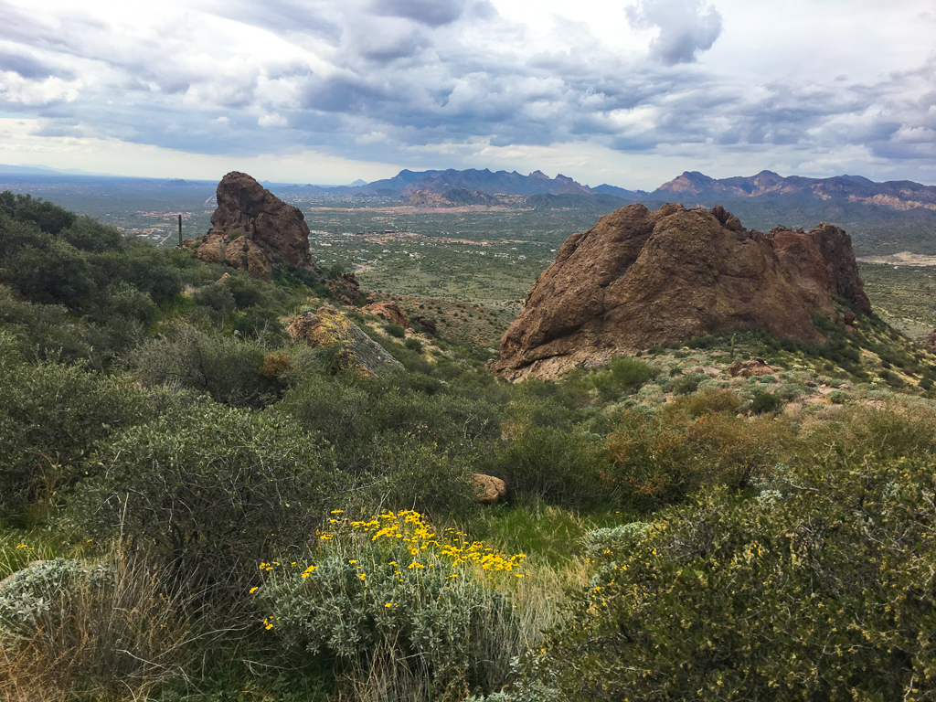 View from Superstition Mountains down into valley