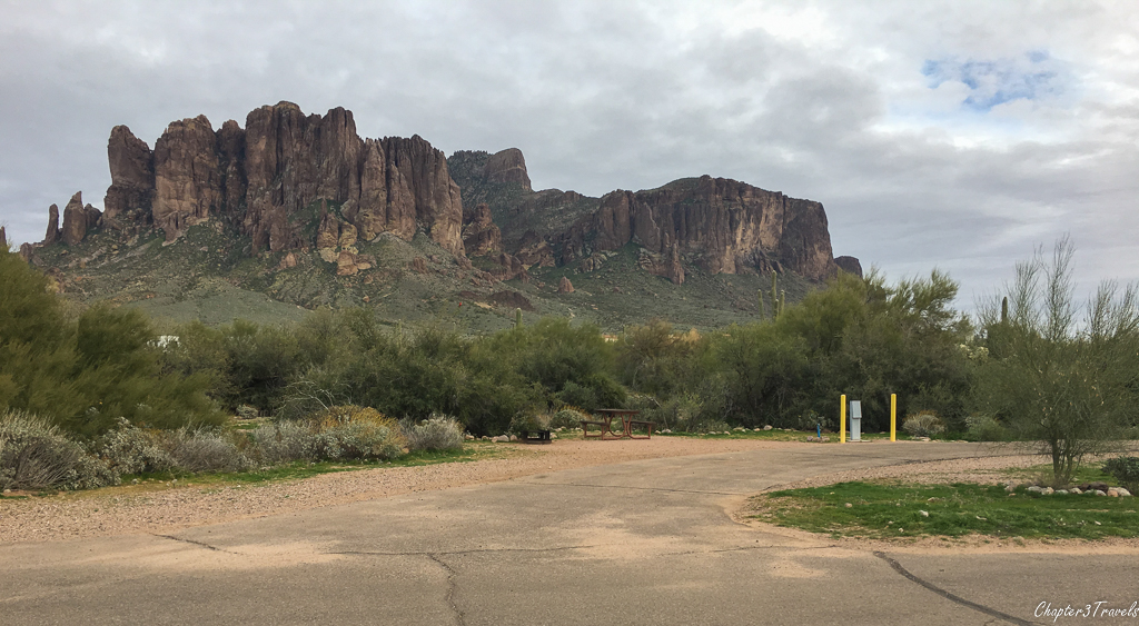 Campsite with view of mountains at Lost Dutchman State Park