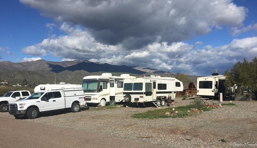 Run down RVs parked very close to one another