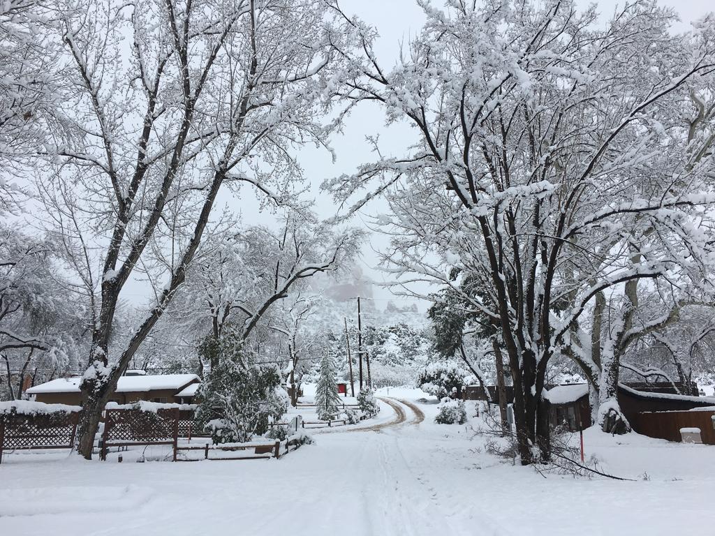 Rancho Sedona RV Park covered in snow