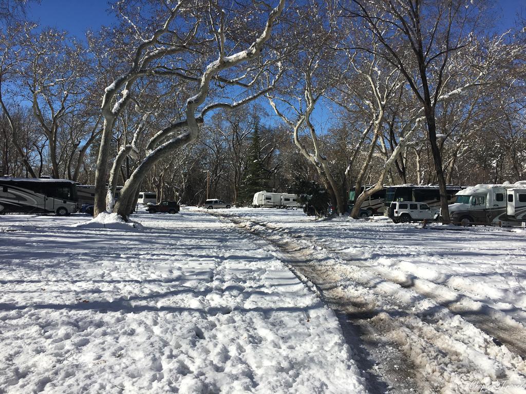 Snow covered roads at Rancho Sedona RV Park