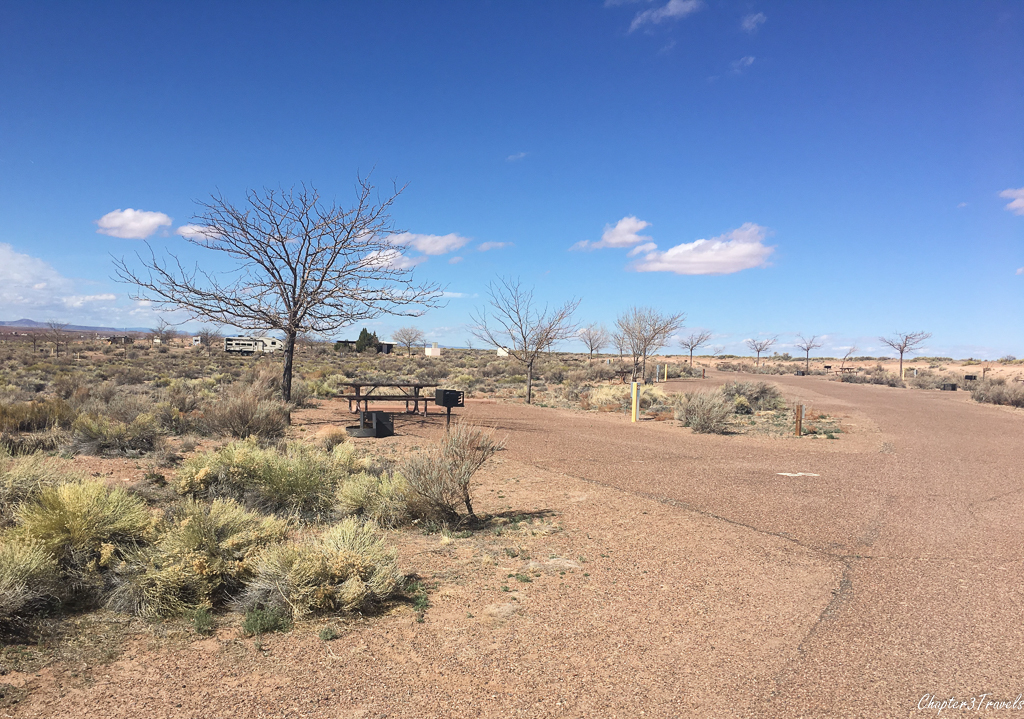 Campsite at Homolovi State Park Campground in Winslow, Arizona