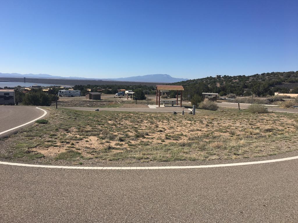 Campsites at Cochiti Campground in Pena Blanca, New Mexico