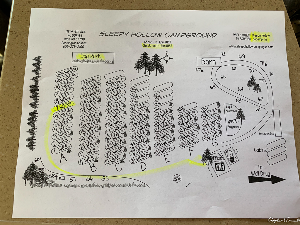 Campground map for Sleepy Hollow RV Park in Wall, South Dakota