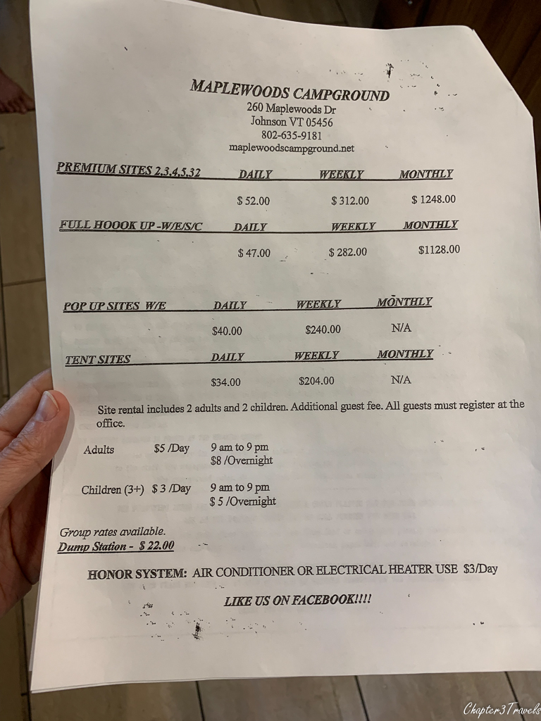 Maplewoods Campground Price List