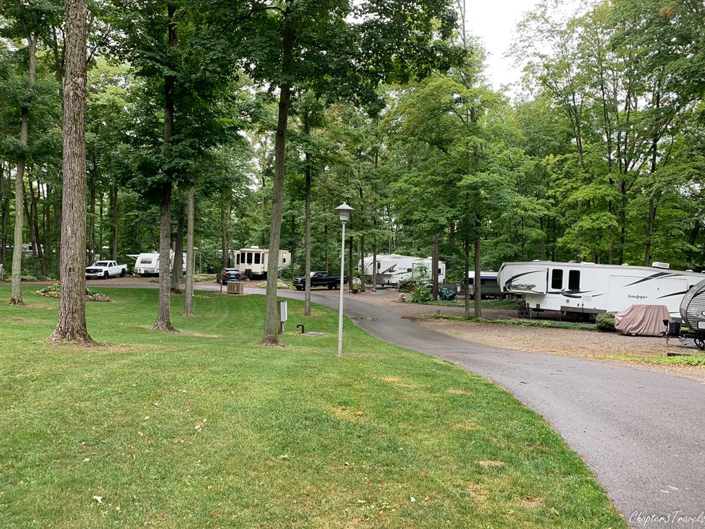 The older sections of Holiday Park Campground in Traverse City, Michigan