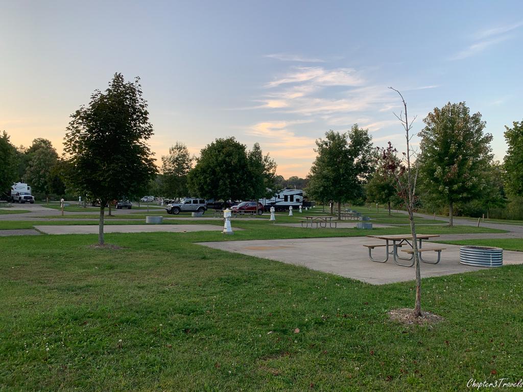 Campsites at Markin Glen County Park in Kalamazoo, Michigan
