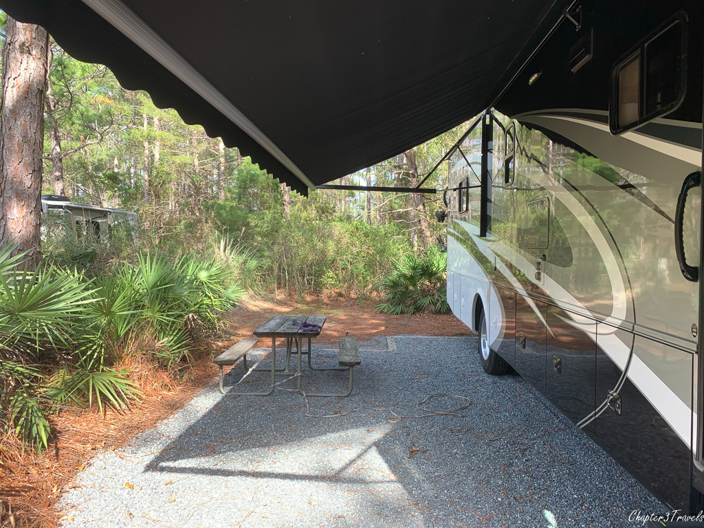 Site 120 at Topsail Hill Preserve State Park campground
