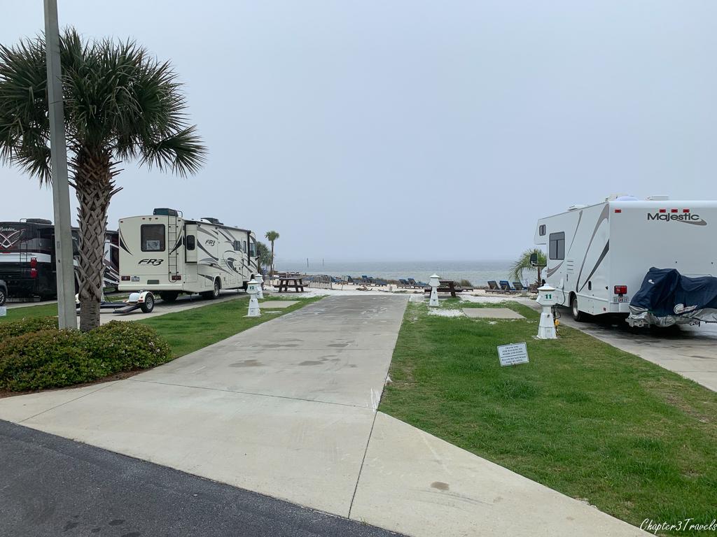 Waterfront sites at Pensacola Beach RV Resort