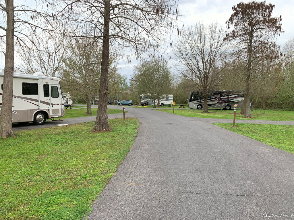 Campsites at Bayou Segnette State Park in Westwego, Louisiana